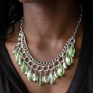 Green Beaded Silver Chain Necklace
